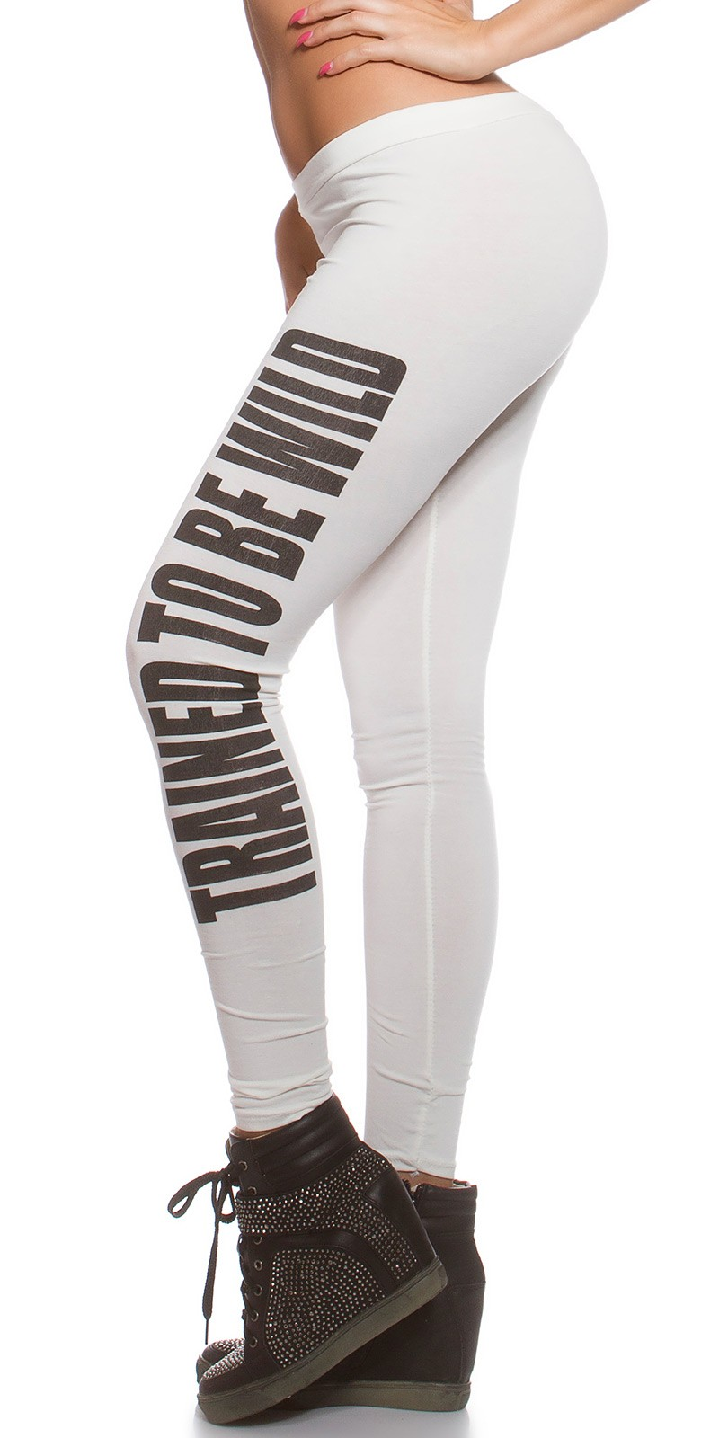 """Trained to be wild"" leggings - Fehér (S/M)"