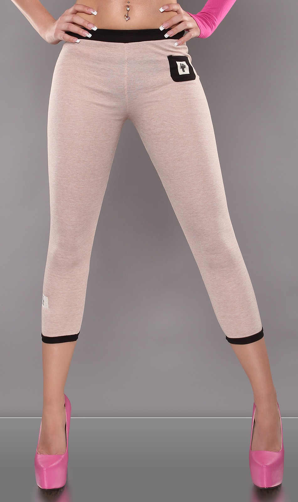 7/8 capri leggings - Bézs (S/M, L/XL)