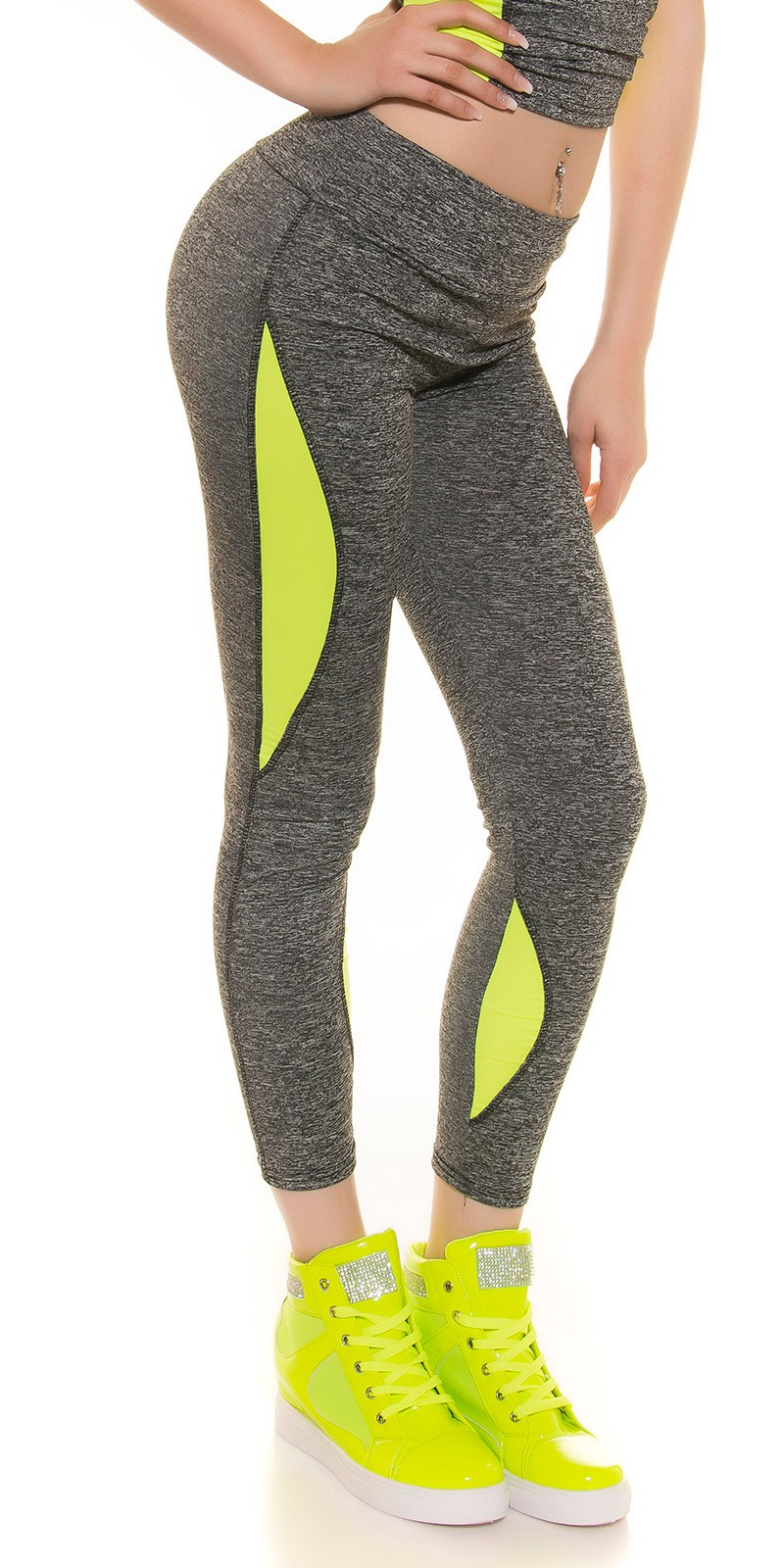 Fitness leggings - Neon-sárga (L/XL)